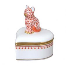 Herend Porcelain Heart Shaped Fancy Box with Sitting Cat Rust